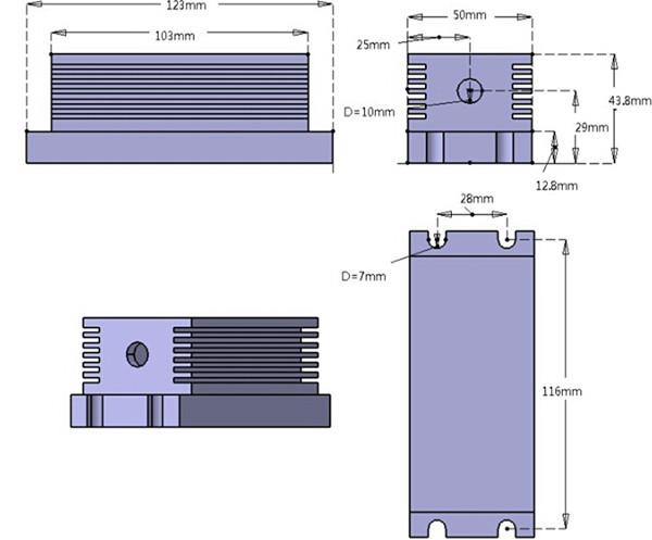 Dimension of TEM00 637nm Red Diode Laser System
