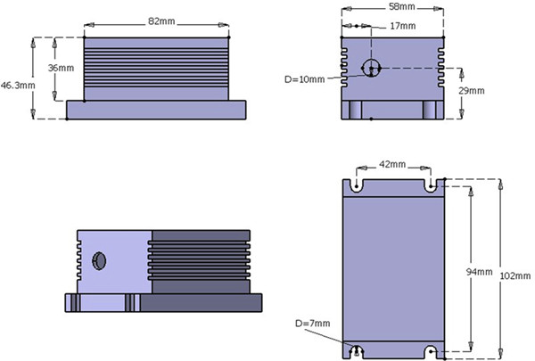442nm 10mW-2000mW Blue Diode Laser System head dimension