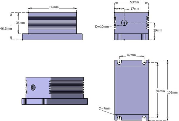 448nm 80mW-3500mW Blue Diode Laser System head dimension